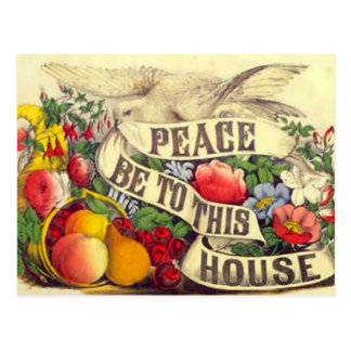 "Vintage ""Peace Be To This House"" - Postcard"