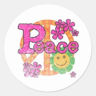 Vintage Peace Classic Round Sticker