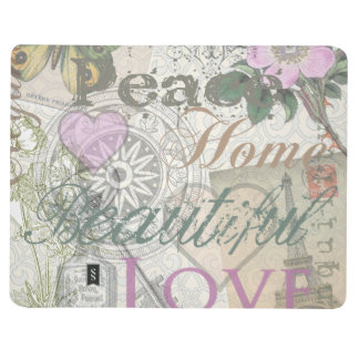 Vintage Peace Home Beautiful Love Designer Collage Journal