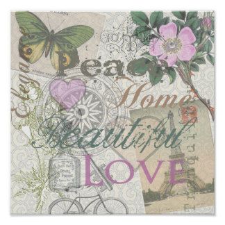 Vintage Peace Home Beautiful Love Designer Collage Poster
