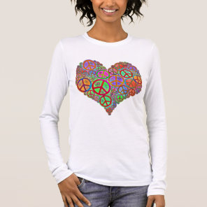 Vintage Peace Love Heart Long Sleeve T-Shirt