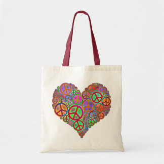 Vintage Peace Love Heart Tote Bag