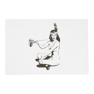 Vintage Peace Offering Pin Up Girl outline Placemat