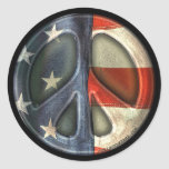 Vintage Peace sign Classic Round Sticker