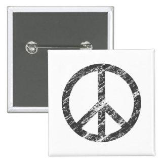vintage peace symbol 2 inch square button