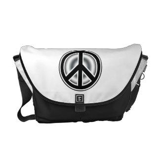 Vintage peace symbol courier bags