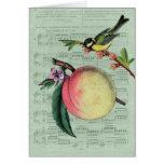 Vintage Peach and Bird Card