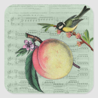 Vintage Peach and Bird Stickers