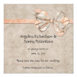 Vintage Peach and Brown Pattern Save The Date Custom Invite