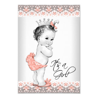 Vintage Peach and Gray Baby Girl Shower 3.5x5 Paper Invitation Card