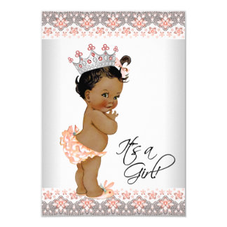 Vintage Peach and Gray Ethnic Baby Girl Shower Card