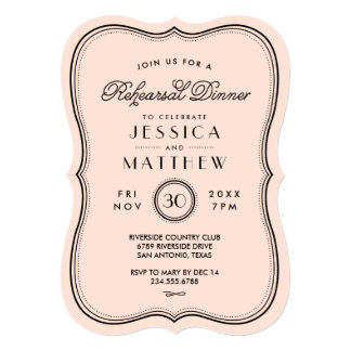 "Vintage Peach Art Deco Wedding Rehearsal Dinner 5"" X 7"" Invitation Card"