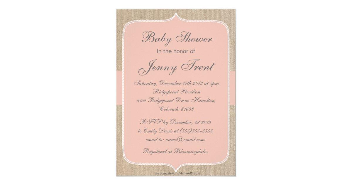 vintage peach burlap baby shower invitation zazzle