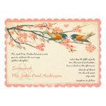 Vintage Peach Coral Teal Love Birds Wedding Invite
