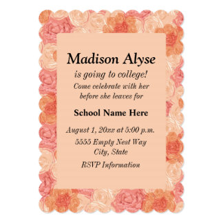 """Vintage Peach Floral """"Off To College"""" Invite"""