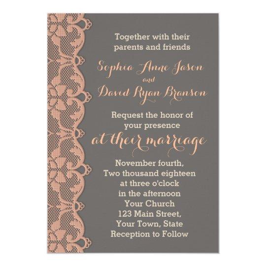 vintage peach grey lace wedding invitation zazzle com