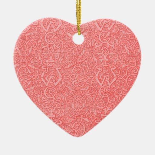 Vintage Peach Triskel Heart Ornament