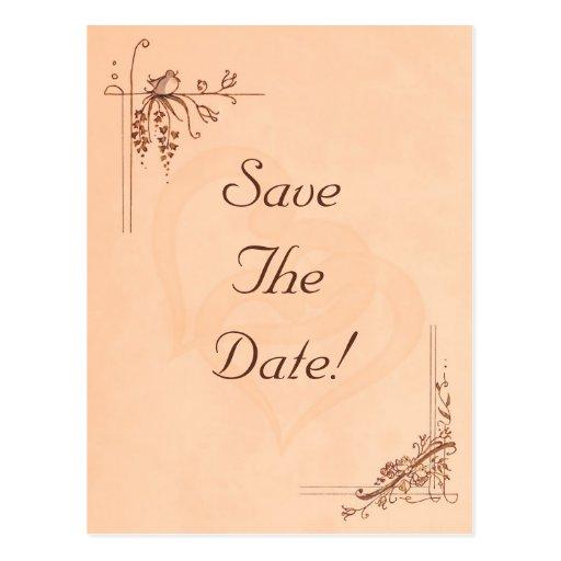 Vintage Peach Wedding Save The Date Postcard