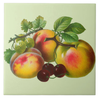 Vintage Peaches and Cherries Ceramic Tiles