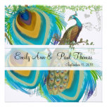 Vintage Peacock 3 Feathers Save the Date Custom Invitations