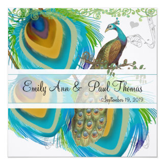 Vintage Peacock 3 Feathers Save the Date Invitation