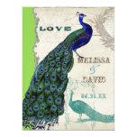 "Vintage Peacock 5 - Formal Wedding Invitation 6.5"" X 8.75"" Invitation Card"