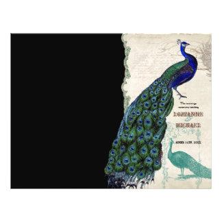 Vintage Peacock 5 - Formal Wedding Program Personalized Flyer