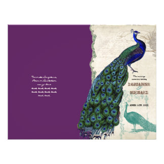 Vintage Peacock 5 - Formal Wedding Program Flyer Design
