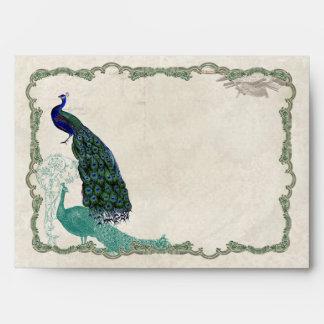Vintage Peacock 5 - Matching  Wedding A7 Envelopes