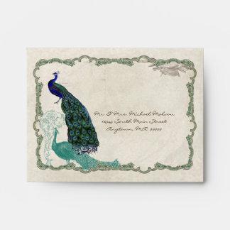 Vintage Peacock 5 - Matching  Wedding Envelopes A2