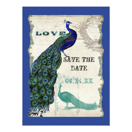 Vintage Peacock 5 - Save the Date 5.5x7.5 Paper Invitation Card