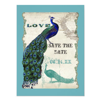 Vintage Peacock 5 - Save the Date Invitations