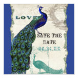Vintage Peacock 5 - Save the Date 5.25x5.25 Square Paper Invitation Card