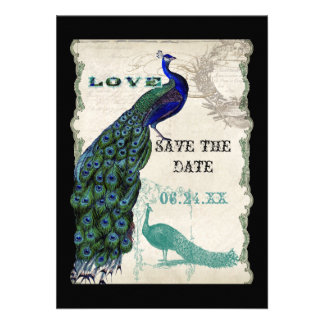Vintage Peacock 5 - Save the Date Personalized Invites