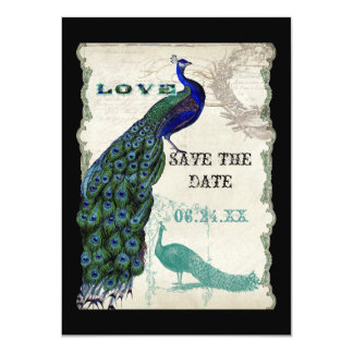 """Vintage Peacock 5 - Save the Date 4.5"""" X 6.25"""" Invitation Card"""