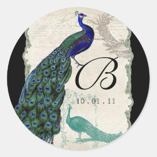 Vintage Peacock 5 - Wedding Seal or Sticker