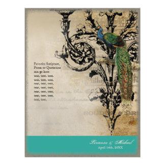"Vintage Peacock 6 - Elegant Wedding Program 8.5"" X 11"" Flyer"