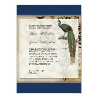 Vintage Peacock 6 Music Notes Candelabra Swirl 5.5x7.5 Paper Invitation Card