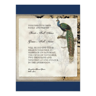 Vintage Peacock 6 Music Notes Candelabra Swirl 6.5x8.75 Paper Invitation Card