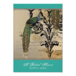 Vintage Peacock 6 Music Notes Candelabra Swirl Card