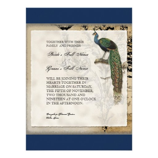 Vintage Peacock 6 Music Notes Candelabra Swirl Personalized Invitation
