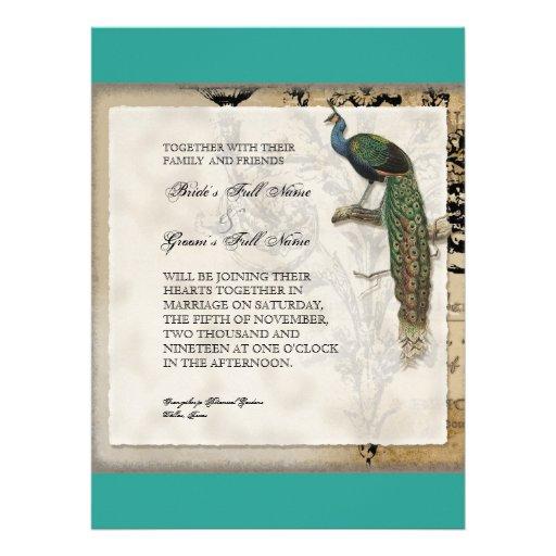 Vintage Peacock 6 Music Notes Candelabra Swirl Invitations