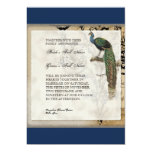 "Vintage Peacock 6 Music Notes Candelabra Swirl 5"" X 7"" Invitation Card"
