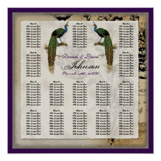 Vintage Peacock 6 - Reception Table Seating Chart Posters