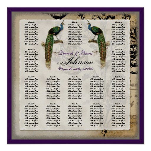 Vintage Peacock 6 - Reception Table Seating Chart Poster