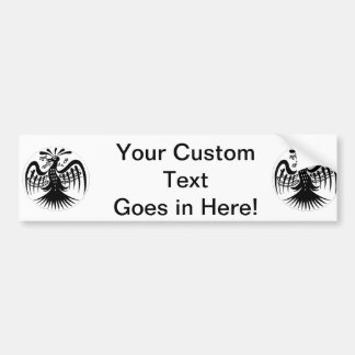 Vintage peacock abstract black jagged drawing.png bumper sticker
