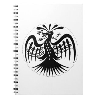 Vintage peacock abstract black jagged drawing.png spiral notebook