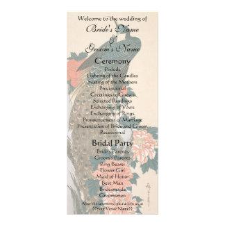 Vintage Peacock and Peonies Wedding Program Rack Card Template
