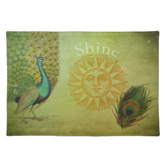 Vintage Peacock Art Collage Placemat