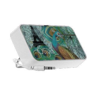 Vintage Peacock Art Nouveau Eiffel Tower Cage iPod Speaker